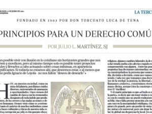 El Instituto Relacional recomienda: 'Principios para un derecho común', de Julio L. Martínez, Sj.